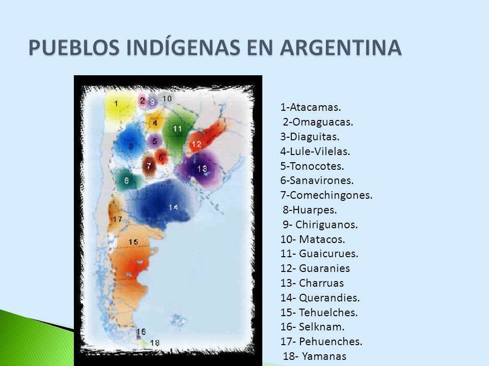 1-Atacamas. 2-Omaguacas. 3-Diaguitas. 4-Lule-Vilelas. 5-Tonocotes. 6-Sanavirones. 7-Comechingones. 8-Huarpes. 9- Chiriguanos. 10- Matacos. 11- Guaicur