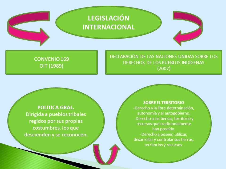 LEGISLACIÓN INTERNACIONAL CONVENIO 169 OIT (1989) DECLARACIÓN DE LAS NACIONES UNIDAS SOBRE LOS DERECHOS DE LOS PUEBLOS INDÍGENAS (2007) POLITICA GRAL.