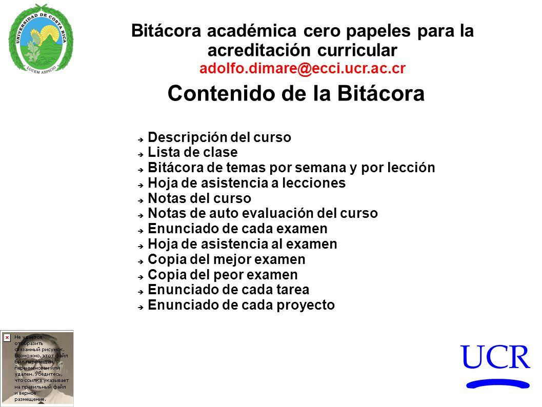 UCR Bitácora académica cero papeles para la acreditación curricular adolfo.dimare@ecci.ucr.ac.cr Descripción del curso Lista de clase Bitácora de tema
