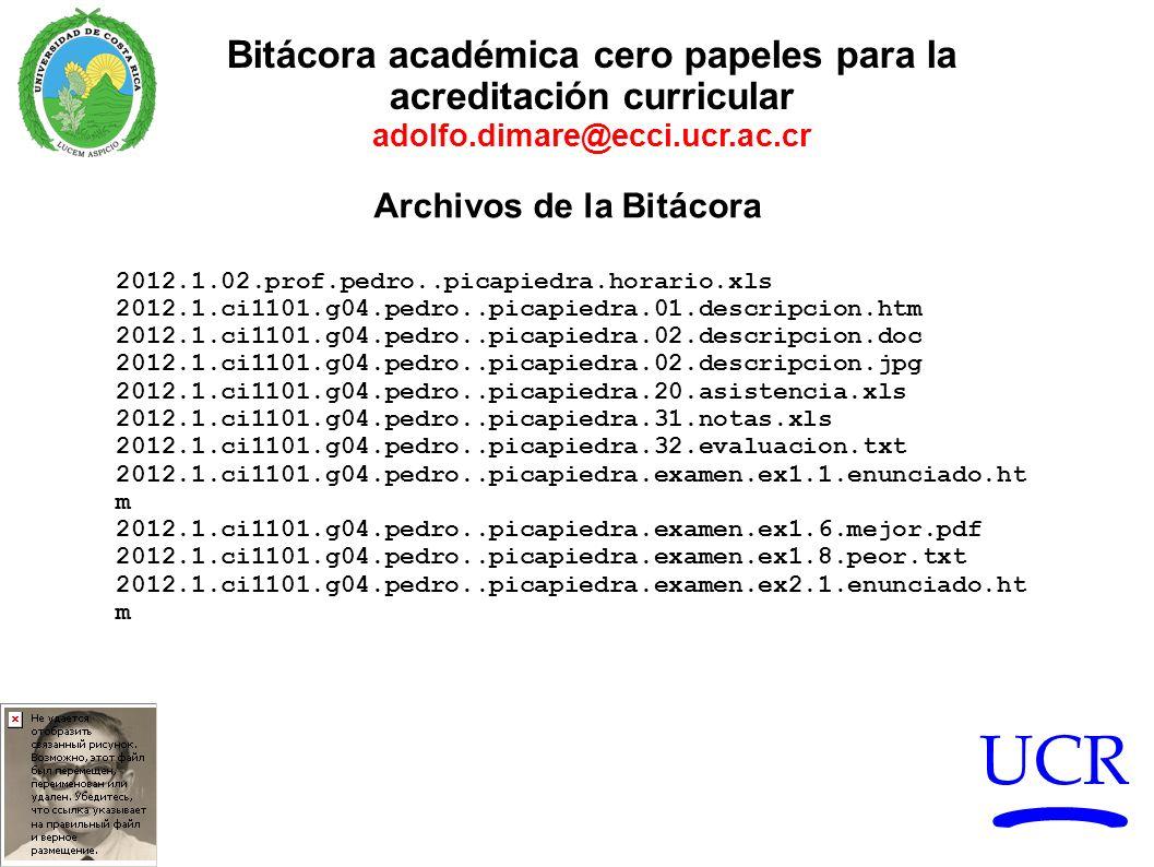 UCR Bitácora académica cero papeles para la acreditación curricular adolfo.dimare@ecci.ucr.ac.cr Archivos de la Bitácora 2012.1.02.prof.pedro..picapie