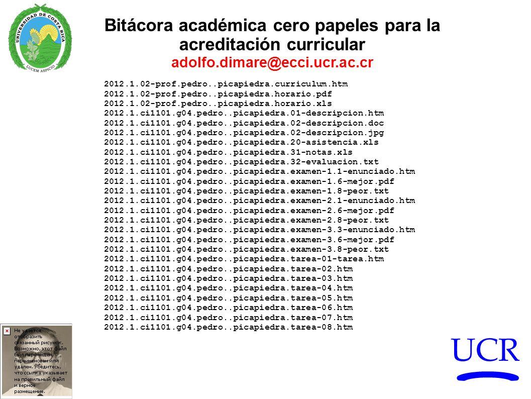 UCR Bitácora académica cero papeles para la acreditación curricular adolfo.dimare@ecci.ucr.ac.cr 2012.1.02-prof.pedro..picapiedra.curriculum.htm 2012.