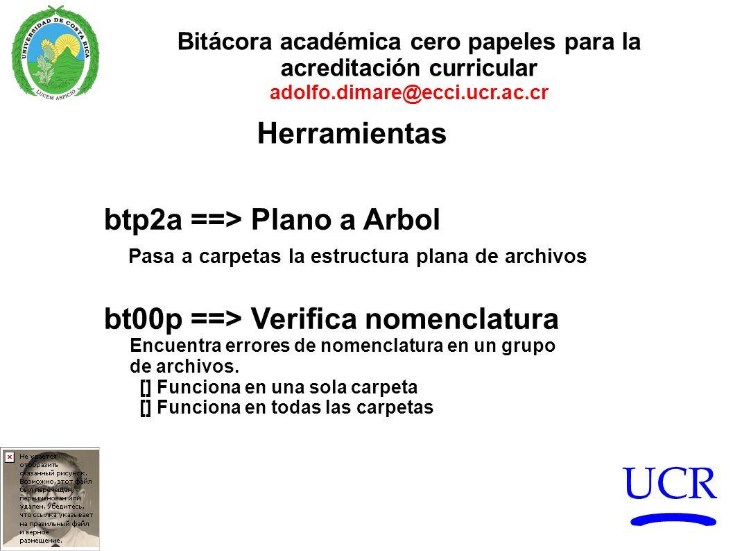 UCR Bitácora académica cero papeles para la acreditación curricular adolfo.dimare@ecci.ucr.ac.cr btp2a ==> Plano a Arbol Pasa a carpetas la estructura