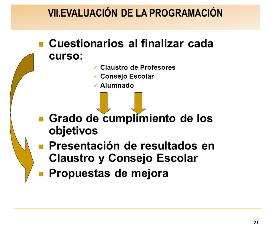 21 VII.EVALUACIÓN DE LA PROGRAMACIÓN Cuestionarios al finalizar cada curso: Claustro de Profesores Consejo Escolar Alumnado Grado de cumplimiento de l