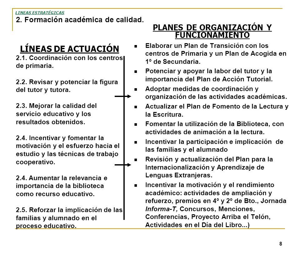 8 PLANES DE ORGANIZACIÓN Y FUNCIONAMIENTO Elaborar un Plan de Transición con los centros de Primaria y un Plan de Acogida en 1º de Secundaria. Potenci