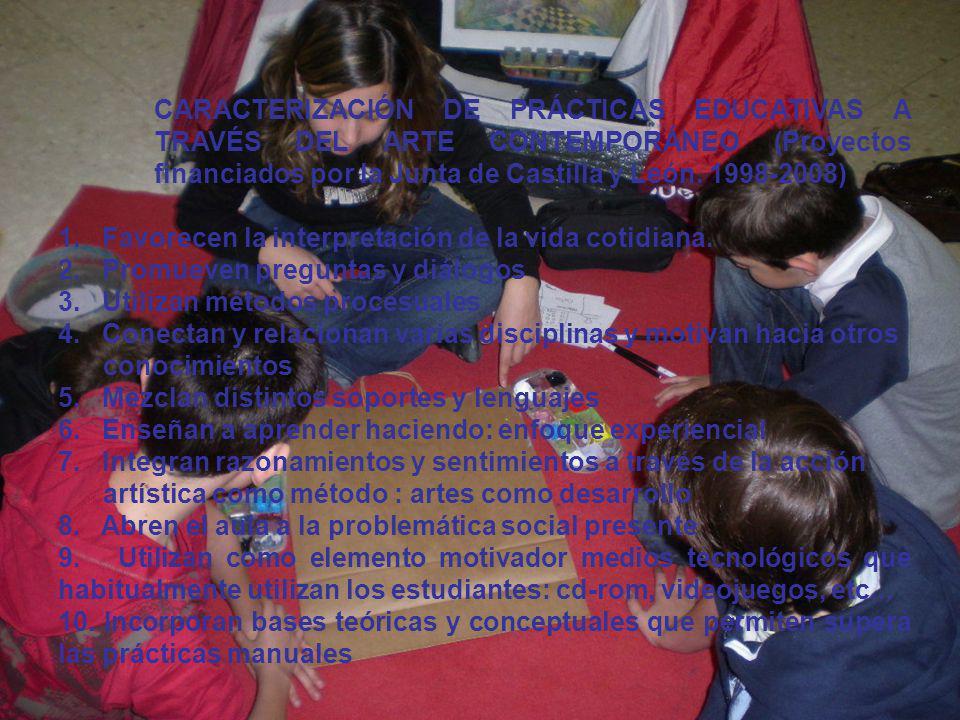 CARACTERIZACIÓN DE PRÁCTICAS EDUCATIVAS A TRAVÉS DEL ARTE CONTEMPORÁNEO (Proyectos financiados por la Junta de Castilla y León. 1998-2008) 1. Favorece