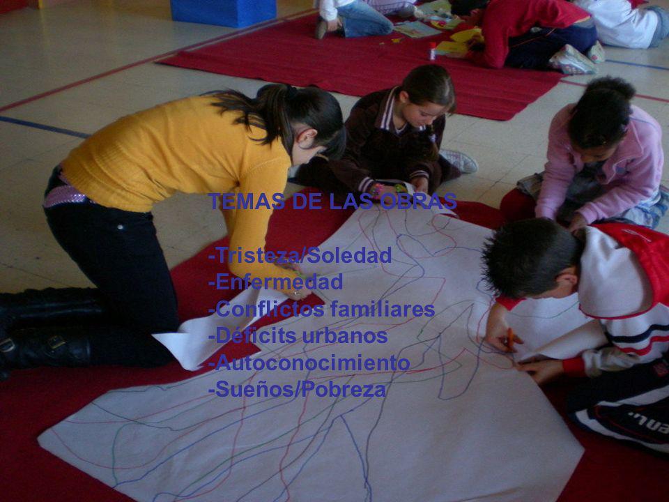 TEMAS DE LAS OBRAS -Tristeza/Soledad -Enfermedad -Conflictos familiares -Déficits urbanos -Autoconocimiento -Sueños/Pobreza