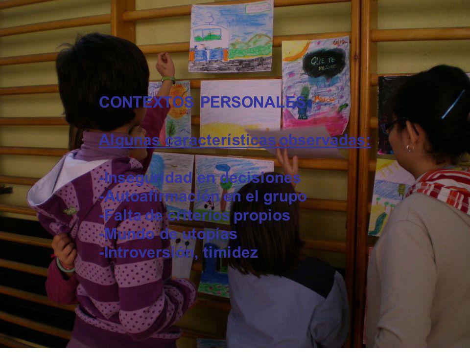 CONTEXTOS PERSONALES Algunas características observadas: -Inseguridad en decisiones -Autoafirmación en el grupo -Falta de criterios propios -Mundo de