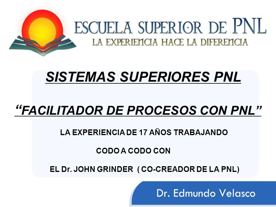 LA EXPERIENCIA DE 17 AÑOS TRABAJANDO CODO A CODO CON EL Dr. JOHN GRINDER ( CO-CREADOR DE LA PNL) SISTEMAS SUPERIORES PNL FACILITADOR DE PROCESOS CON P