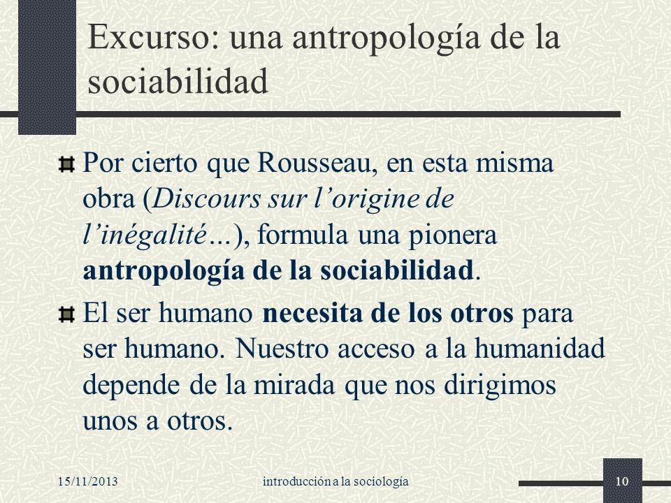15/11/2013introducción a la sociología10 Excurso: una antropología de la sociabilidad Por cierto que Rousseau, en esta misma obra (Discours sur lorigi