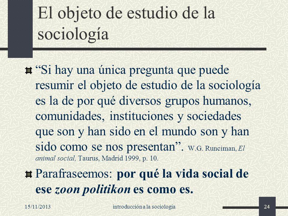15/11/2013introducción a la sociología24 El objeto de estudio de la sociología Si hay una única pregunta que puede resumir el objeto de estudio de la