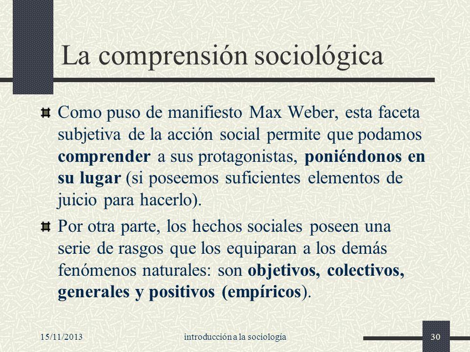 15/11/2013introducción a la sociología30 La comprensión sociológica Como puso de manifiesto Max Weber, esta faceta subjetiva de la acción social permi