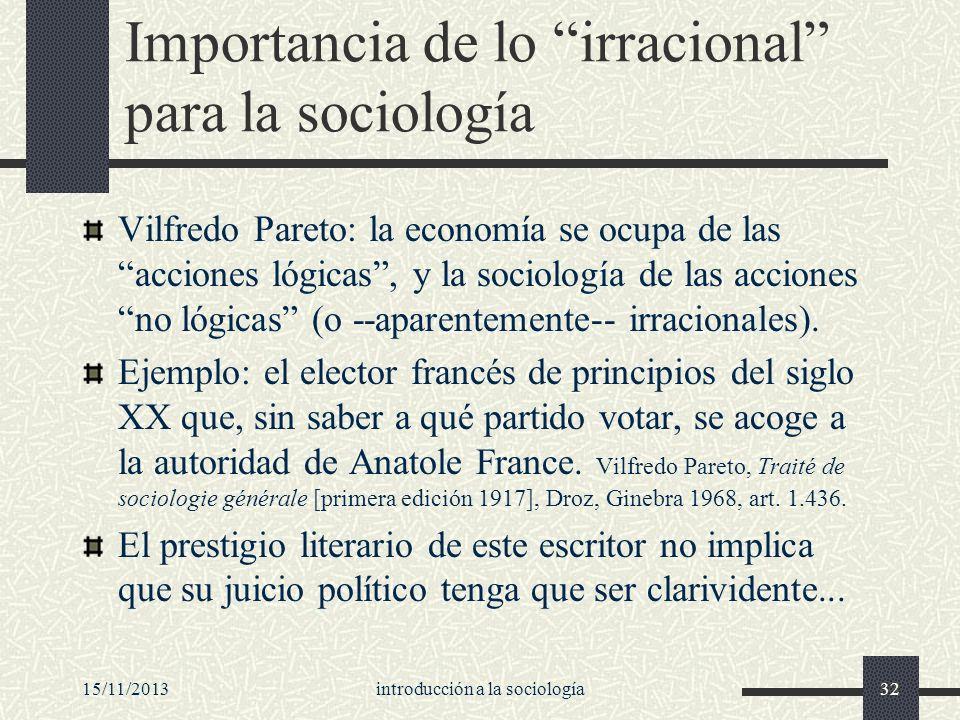 15/11/2013introducción a la sociología32 Importancia de lo irracional para la sociología Vilfredo Pareto: la economía se ocupa de las acciones lógicas