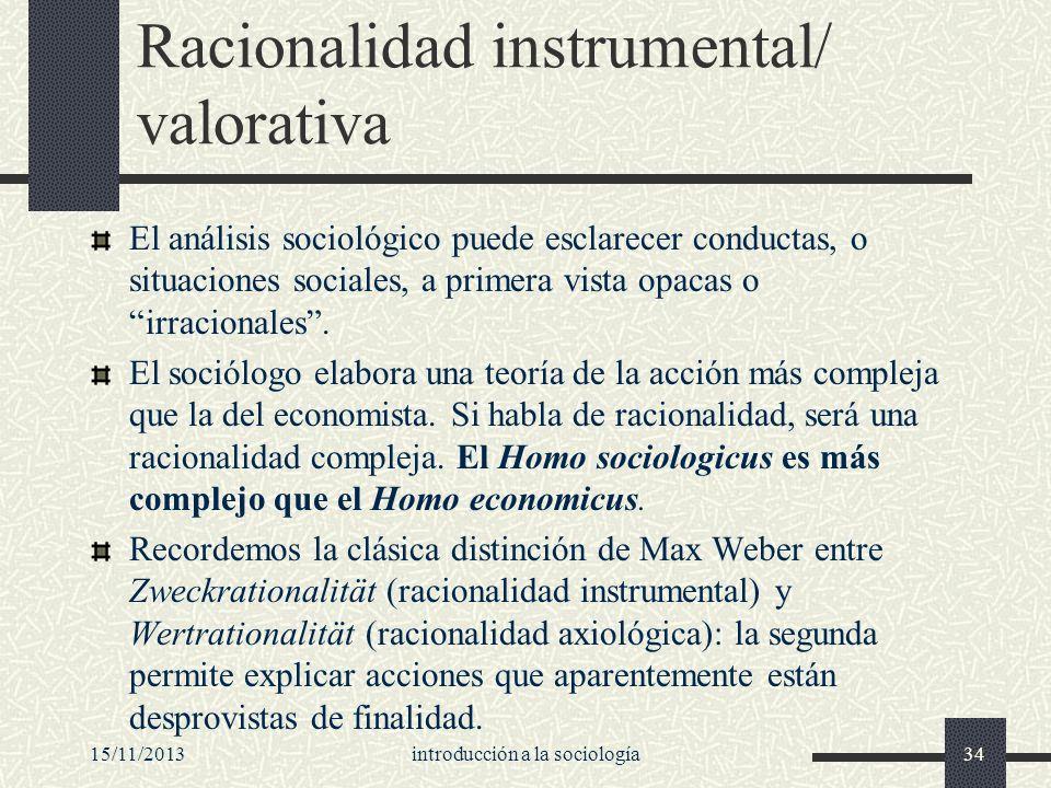 15/11/2013introducción a la sociología34 Racionalidad instrumental/ valorativa El análisis sociológico puede esclarecer conductas, o situaciones socia