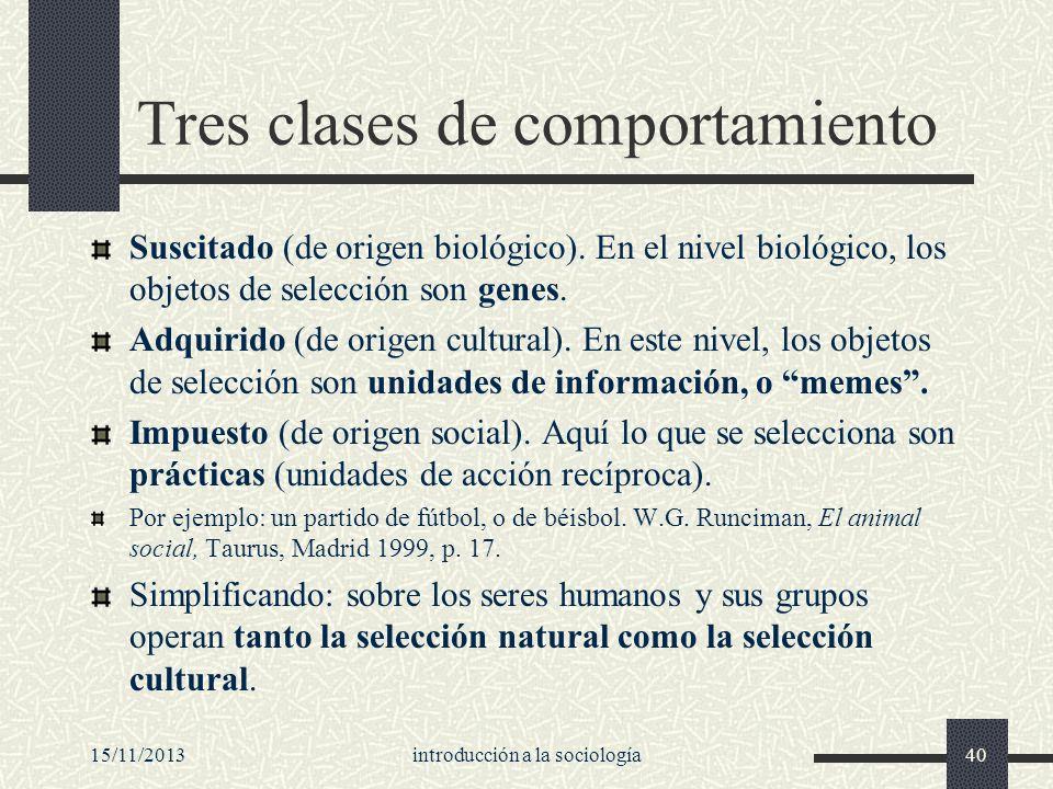 15/11/2013introducción a la sociología40 Tres clases de comportamiento Suscitado (de origen biológico). En el nivel biológico, los objetos de selecció