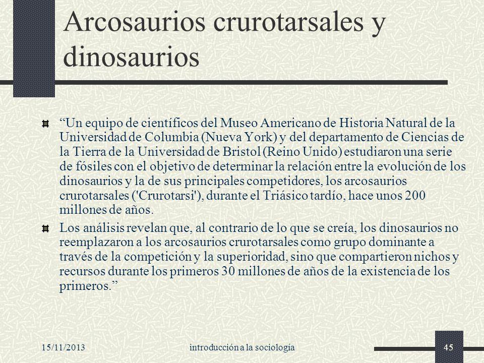 15/11/2013introducción a la sociología45 Arcosaurios crurotarsales y dinosaurios Un equipo de científicos del Museo Americano de Historia Natural de l