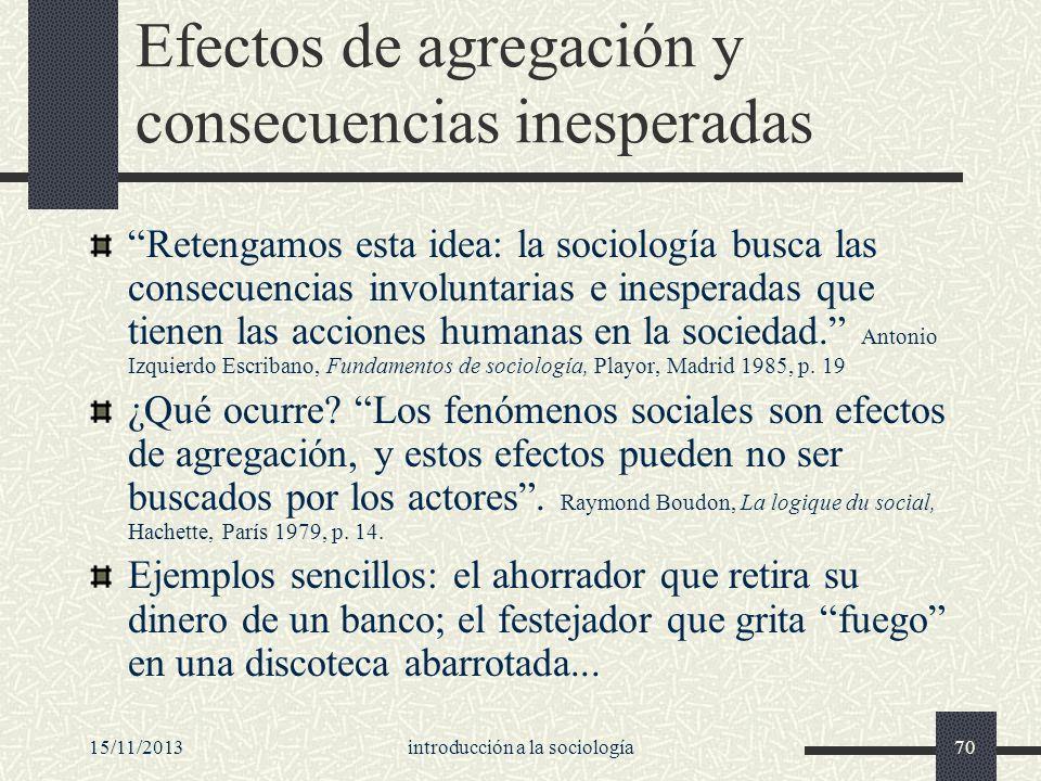 15/11/2013introducción a la sociología70 Efectos de agregación y consecuencias inesperadas Retengamos esta idea: la sociología busca las consecuencias