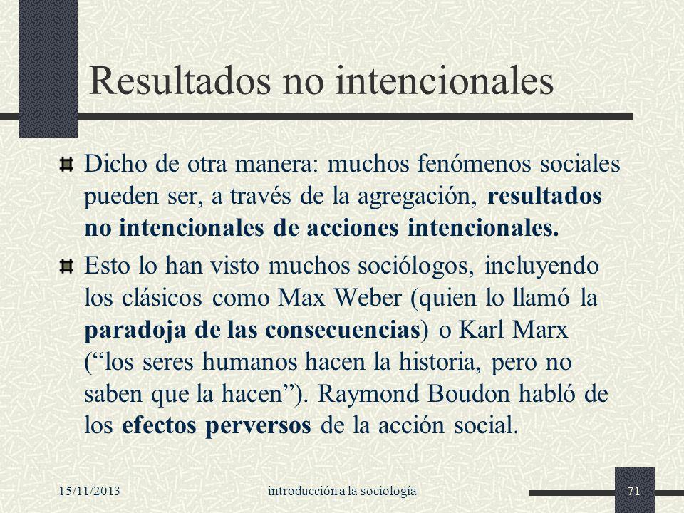 15/11/2013introducción a la sociología71 Resultados no intencionales Dicho de otra manera: muchos fenómenos sociales pueden ser, a través de la agrega