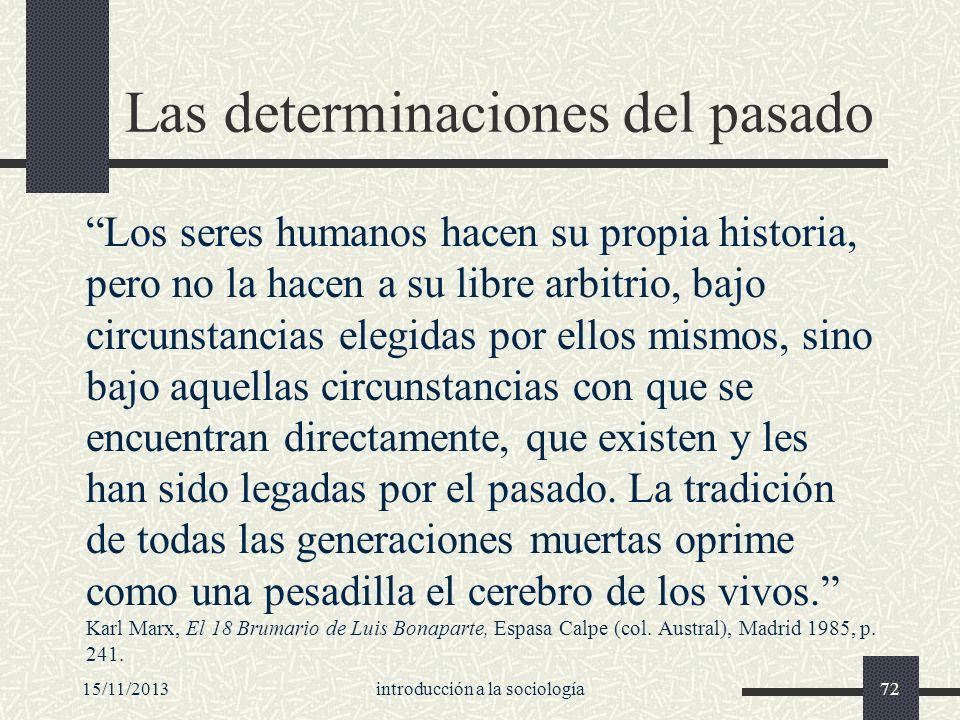 15/11/2013introducción a la sociología72 Las determinaciones del pasado Los seres humanos hacen su propia historia, pero no la hacen a su libre arbitr