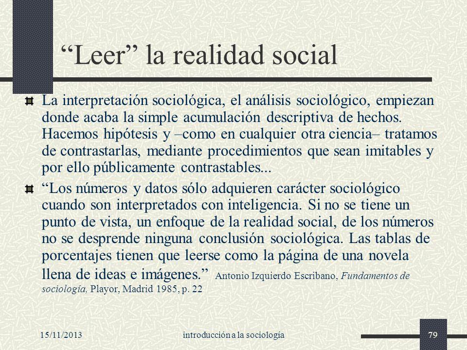 15/11/2013introducción a la sociología79 Leer la realidad social La interpretación sociológica, el análisis sociológico, empiezan donde acaba la simpl