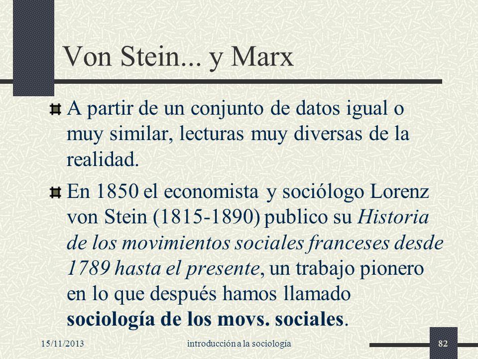 15/11/2013introducción a la sociología82 Von Stein... y Marx A partir de un conjunto de datos igual o muy similar, lecturas muy diversas de la realida