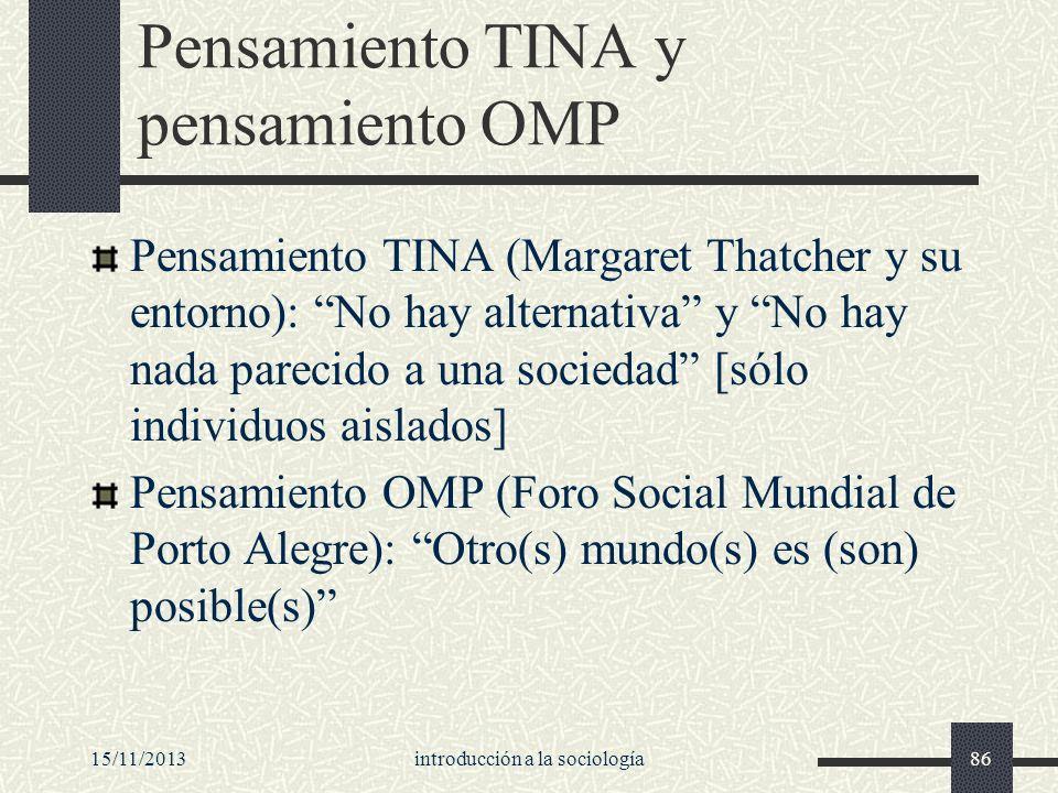 15/11/2013introducción a la sociología86 Pensamiento TINA y pensamiento OMP Pensamiento TINA (Margaret Thatcher y su entorno): No hay alternativa y No