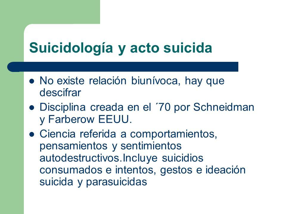 Suicidología y acto suicida No existe relación biunívoca, hay que descifrar Disciplina creada en el ´70 por Schneidman y Farberow EEUU. Ciencia referi
