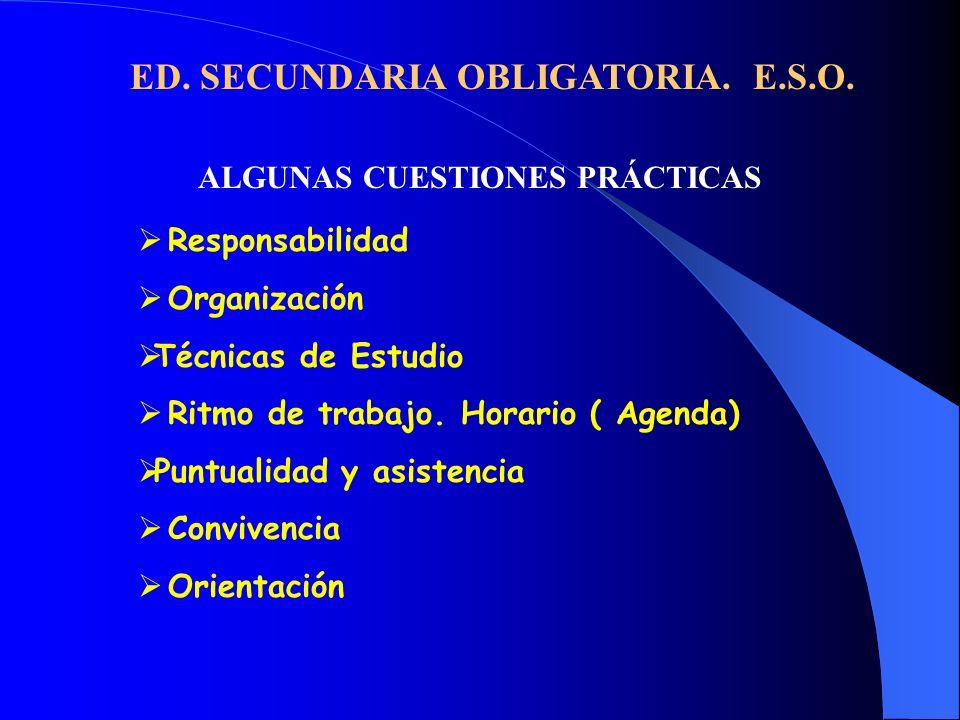 ED. SECUNDARIA OBLIGATORIA. E.S.O. ALGUNAS CUESTIONES PRÁCTICAS Responsabilidad Organización Técnicas de Estudio Ritmo de trabajo. Horario ( Agenda) P