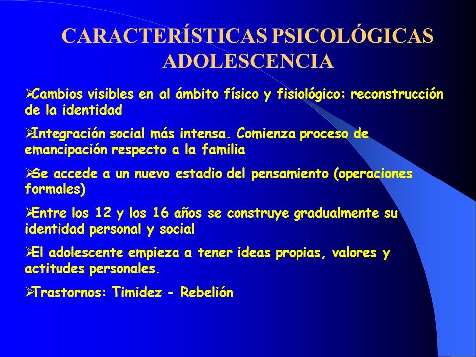 CARACTERÍSTICAS PSICOLÓGICAS ADOLESCENCIA Cambios visibles en al ámbito físico y fisiológico: reconstrucción de la identidad Integración social más in