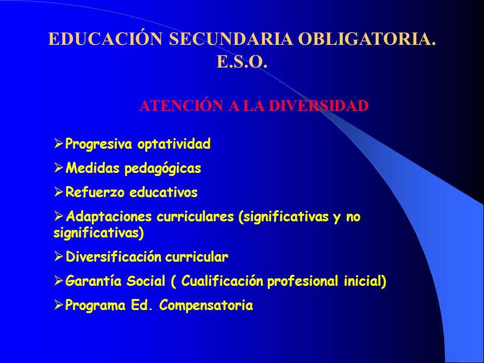 EDUCACIÓN SECUNDARIA OBLIGATORIA. E.S.O. ATENCIÓN A LA DIVERSIDAD Progresiva optatividad Medidas pedagógicas Refuerzo educativos Adaptaciones curricul