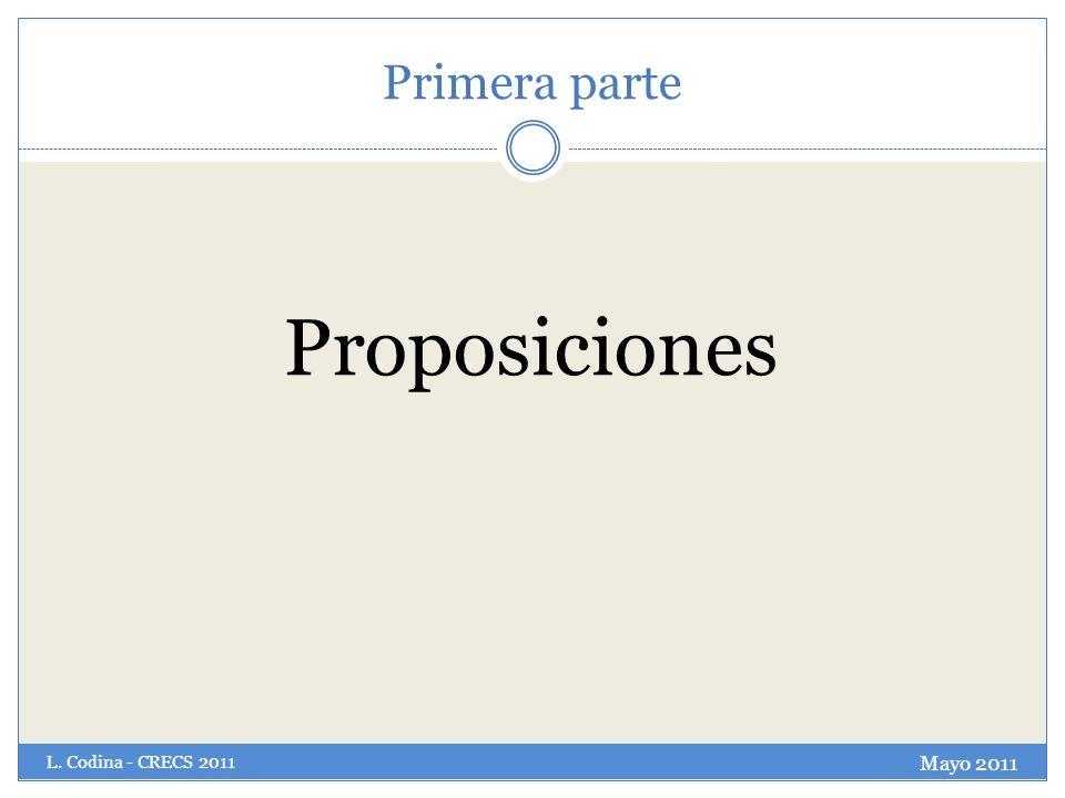 Primera parte Proposiciones Mayo 2011 L. Codina - CRECS 2011