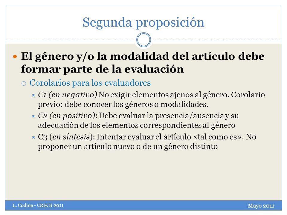 Segunda proposición El género y/o la modalidad del artículo debe formar parte de la evaluación Corolarios para los evaluadores C1 (en negativo) No exi