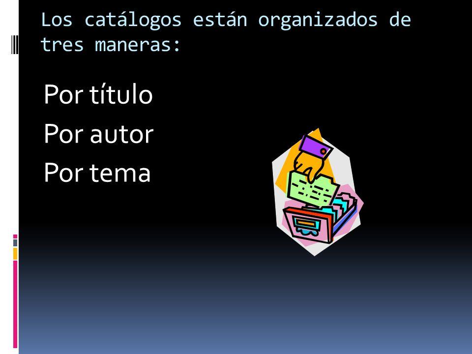 Los catálogos están organizados de tres maneras: Por título Por autor Por tema