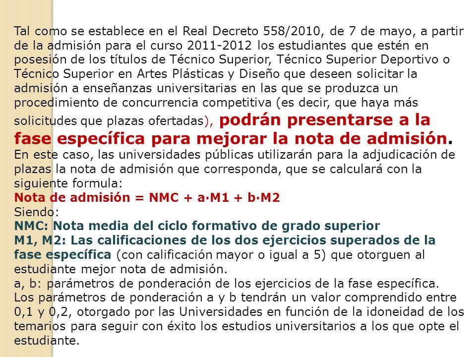 Tal como se establece en el Real Decreto 558/2010, de 7 de mayo, a partir de la admisión para el curso 2011-2012 los estudiantes que estén en posesión