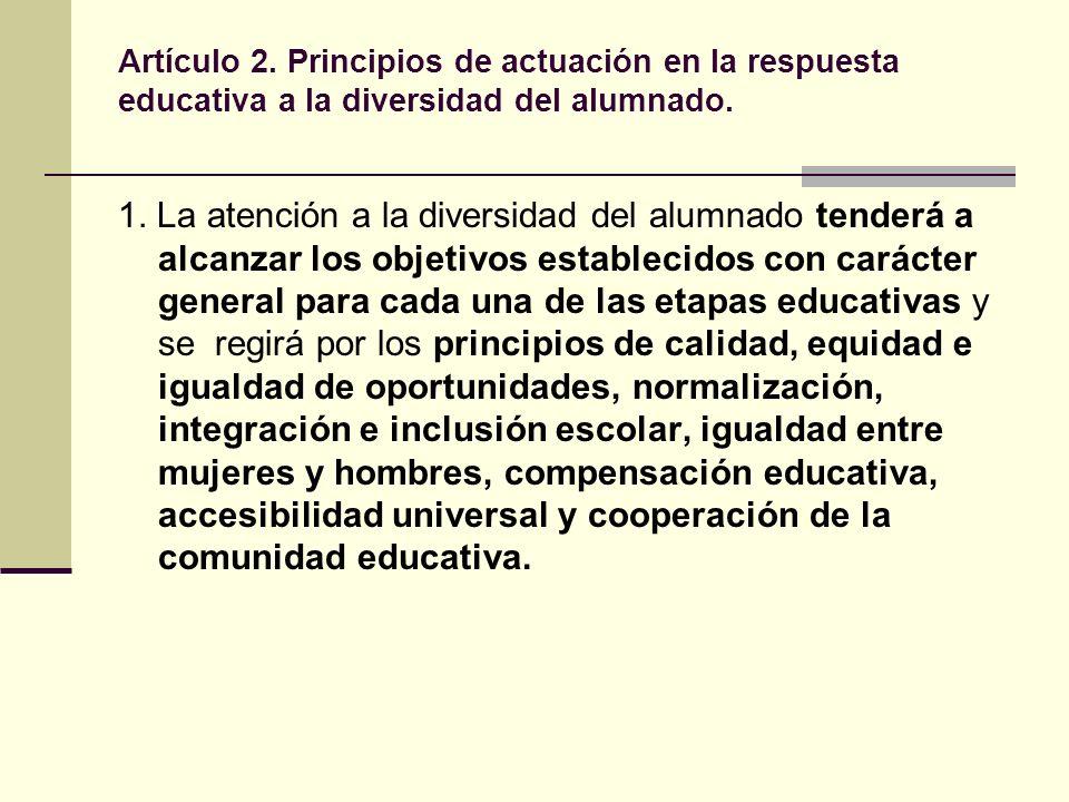 Artículo 3.La actuación del centro educativo ante la diversidad del alumnado.