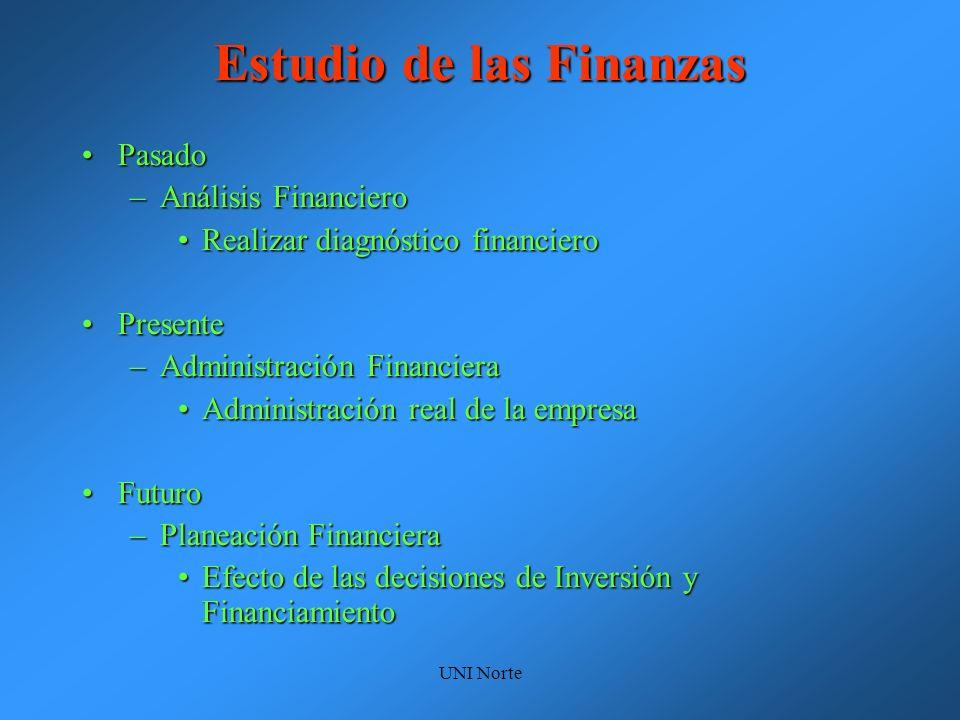 UNI Norte Estudio de las Finanzas PasadoPasado –Análisis Financiero Realizar diagnóstico financieroRealizar diagnóstico financiero PresentePresente –A