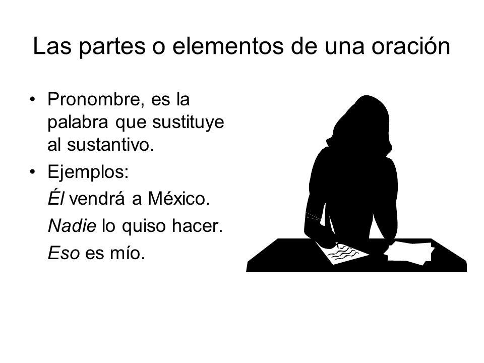 Pronombre, es la palabra que sustituye al sustantivo. Ejemplos: Él vendrá a México. Nadie lo quiso hacer. Eso es mío.
