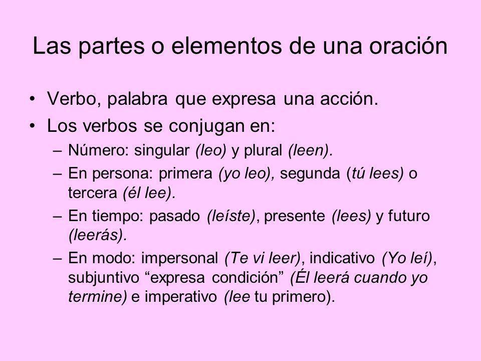 Las partes o elementos de una oración Verbo, palabra que expresa una acción. Los verbos se conjugan en: –Número: singular (leo) y plural (leen). –En p
