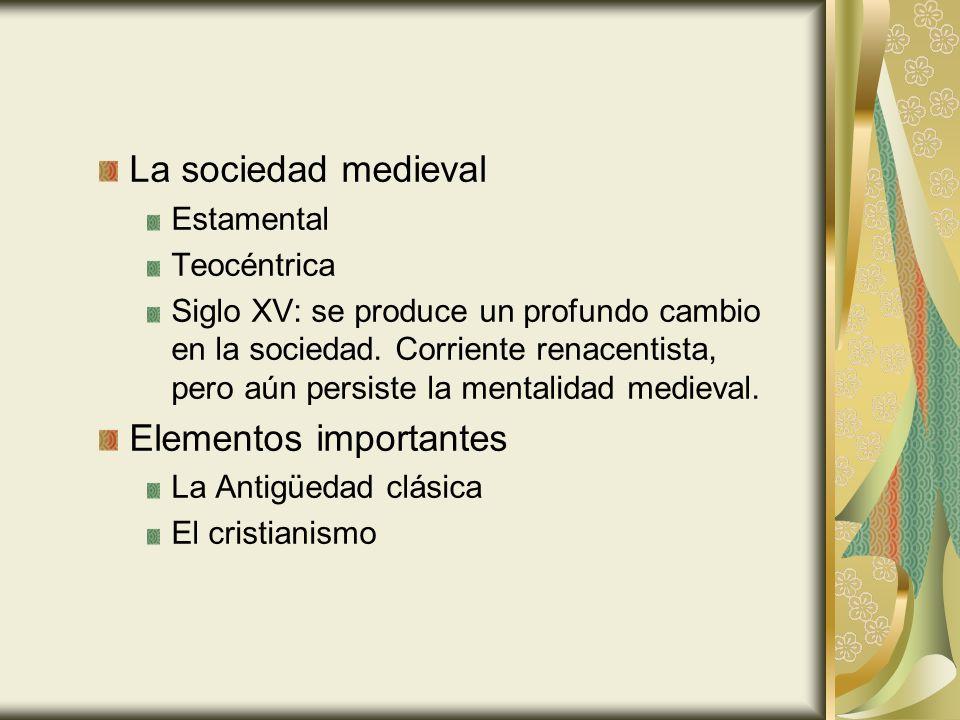 La sociedad medieval Estamental Teocéntrica Siglo XV: se produce un profundo cambio en la sociedad. Corriente renacentista, pero aún persiste la menta