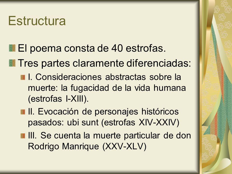 Temas y tópicos Elogio fúnebre de don Rodrigo Manrique, padre del poeta.