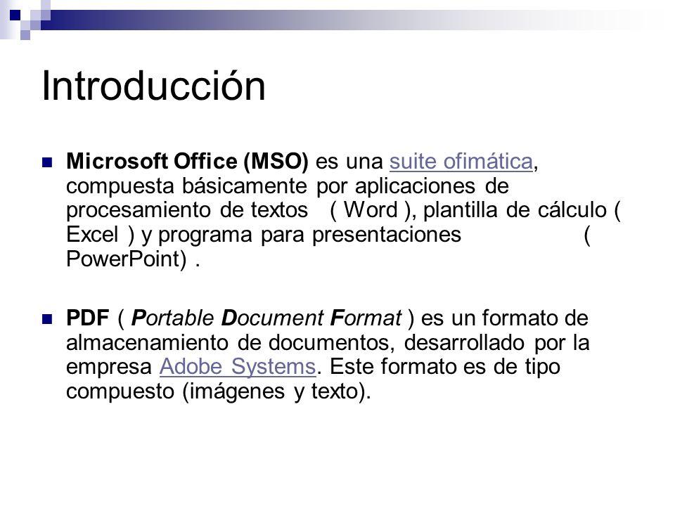Introducción Microsoft Office (MSO) es una suite ofimática, compuesta básicamente por aplicaciones de procesamiento de textos ( Word ), plantilla de c