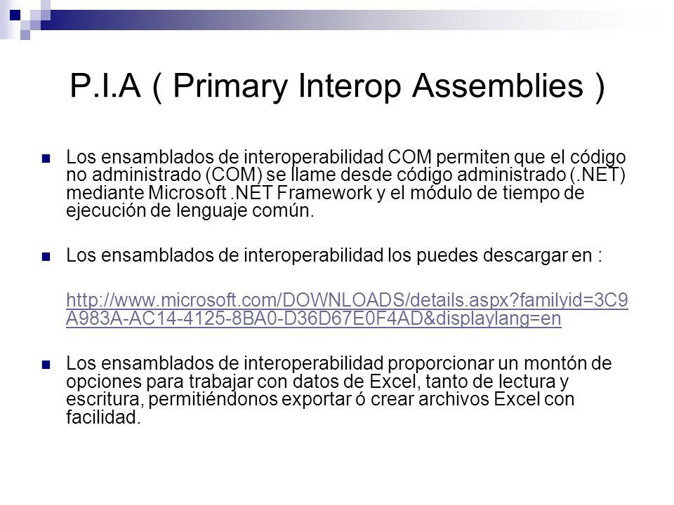 P.I.A ( Primary Interop Assemblies ) Los ensamblados de interoperabilidad COM permiten que el código no administrado (COM) se llame desde código admin