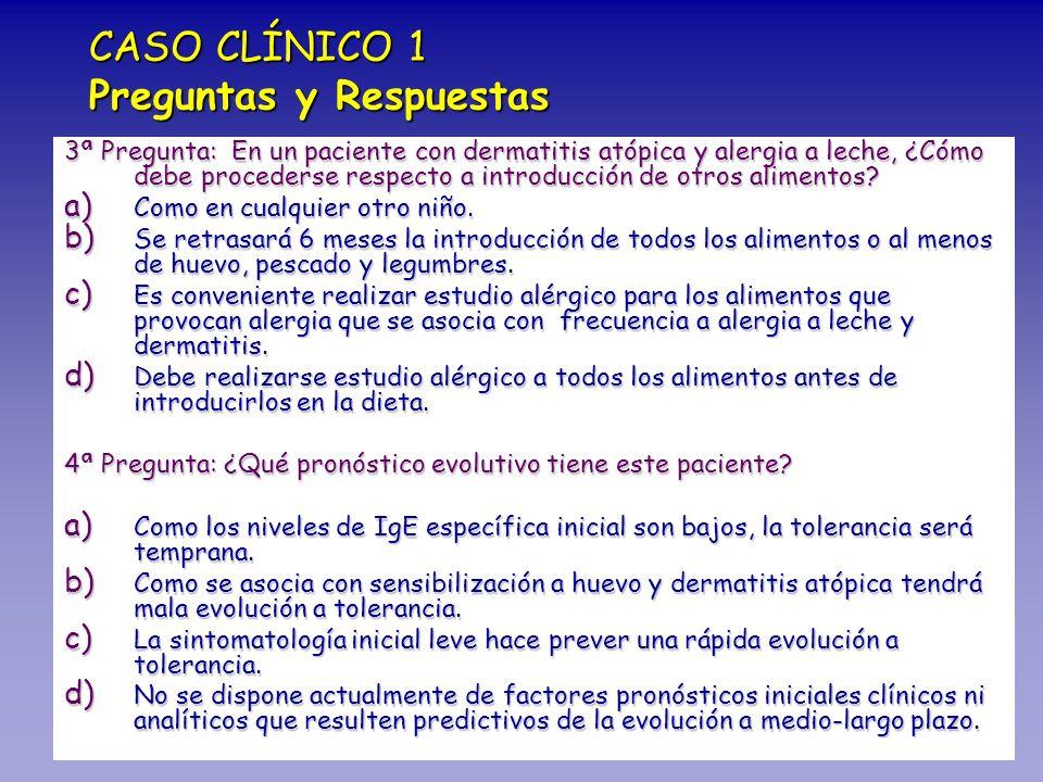 CASO CLÍNICO 1 Preguntas y Respuestas 3ª Pregunta: En un paciente con dermatitis atópica y alergia a leche, ¿Cómo debe procederse respecto a introducc
