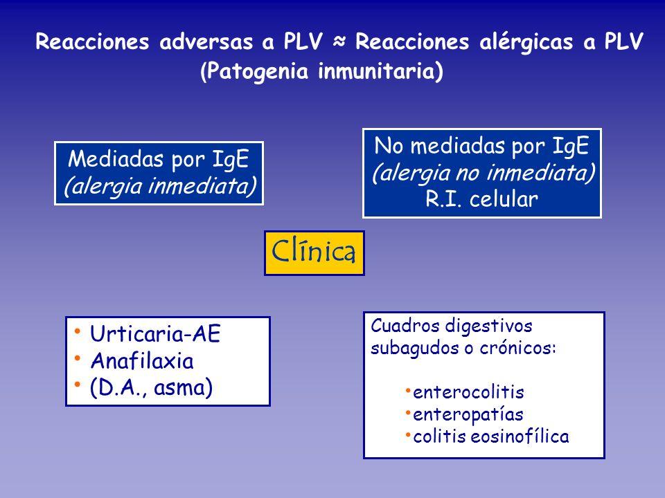 Reacciones adversas a PLV Reacciones alérgicas a PLV ( Patogenia inmunitaria) Mediadas por IgE (alergia inmediata) No mediadas por IgE (alergia no inm