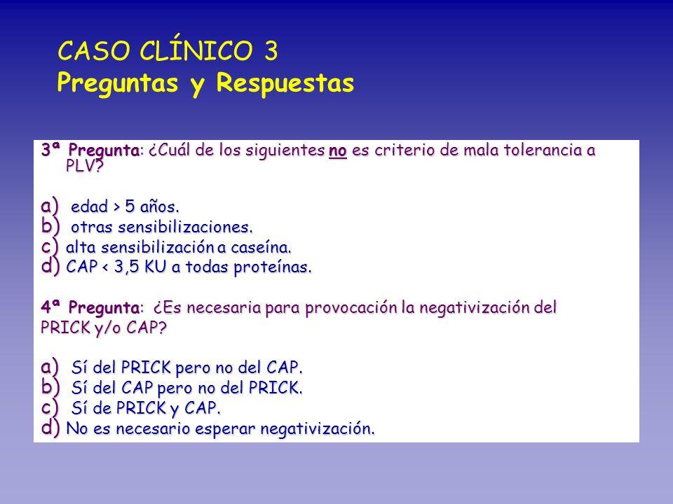 3ª Pregunta: ¿Cuál de los siguientes no es criterio de mala tolerancia a PLV? a) edad > 5 años. b) otras sensibilizaciones. c) alta sensibilización a