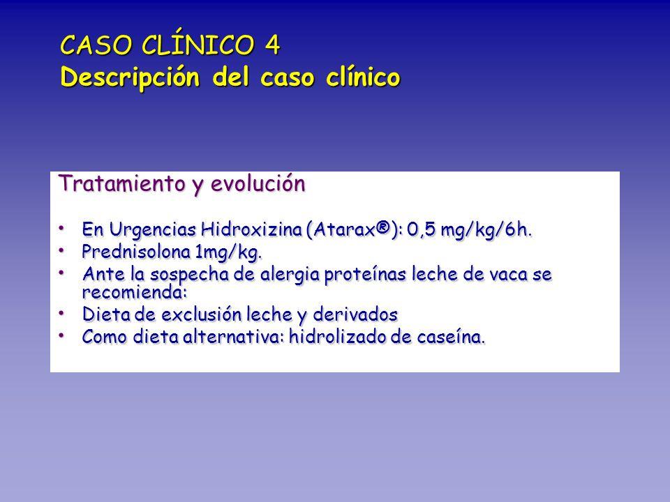 Tratamiento y evolución En Urgencias Hidroxizina (Atarax®): 0,5 mg/kg/6h. En Urgencias Hidroxizina (Atarax®): 0,5 mg/kg/6h. Prednisolona 1mg/kg. Predn