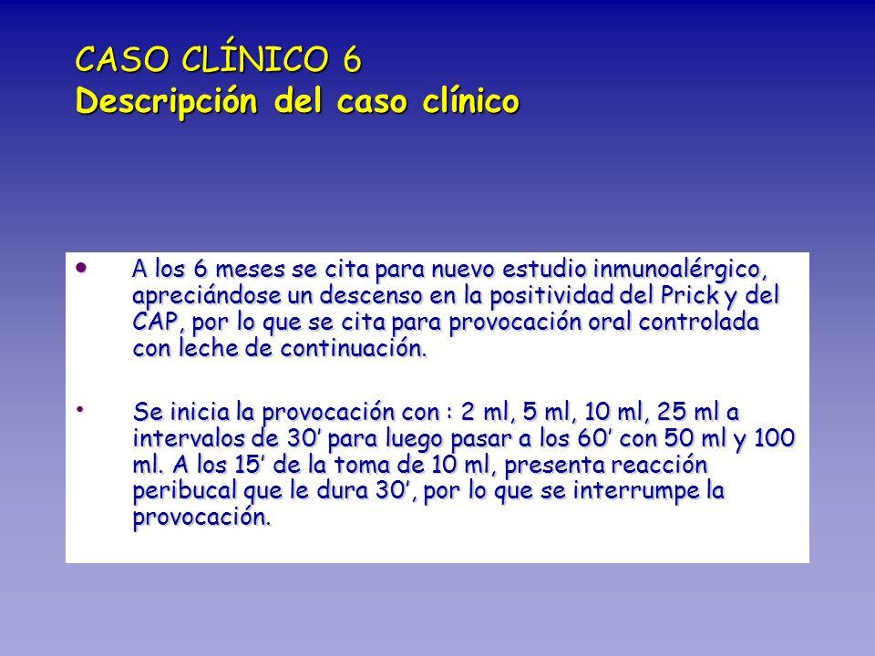 CASO CLÍNICO 6 Descripción del caso clínico A los 6 meses se cita para nuevo estudio inmunoalérgico, apreciándose un descenso en la positividad del Pr