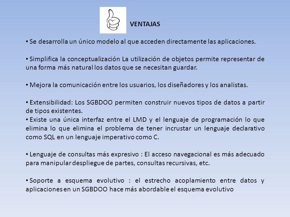 VENTAJAS Se desarrolla un único modelo al que acceden directamente las aplicaciones. Simplifica la conceptualización La utilización de objetos permite
