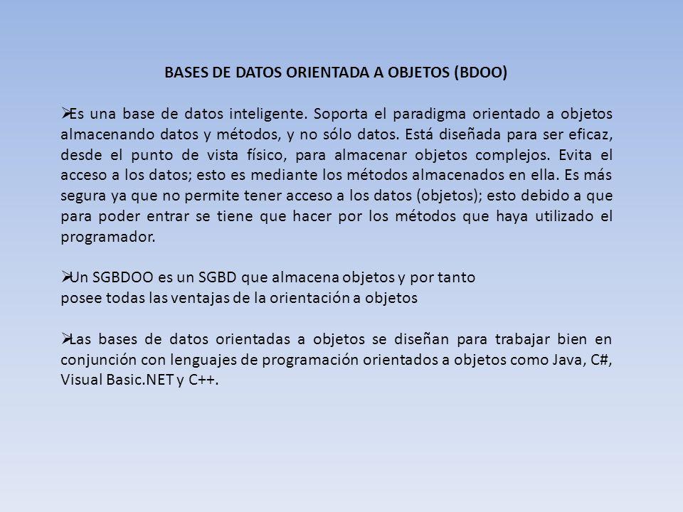 BASES DE DATOS ORIENTADA A OBJETOS (BDOO) Es una base de datos inteligente. Soporta el paradigma orientado a objetos almacenando datos y métodos, y no