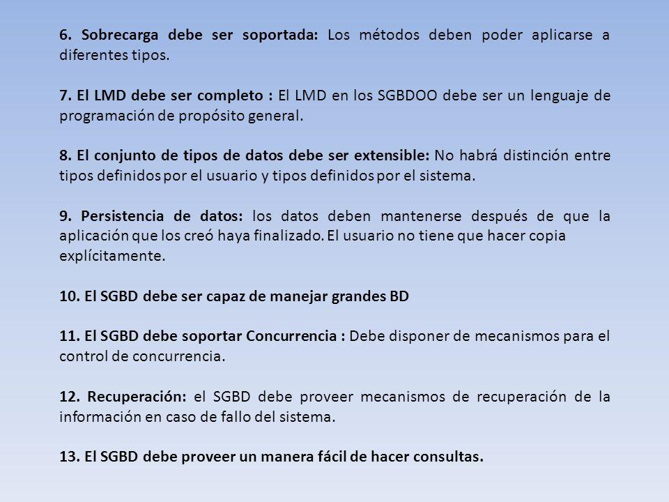 6. Sobrecarga debe ser soportada: Los métodos deben poder aplicarse a diferentes tipos. 7. El LMD debe ser completo : El LMD en los SGBDOO debe ser un