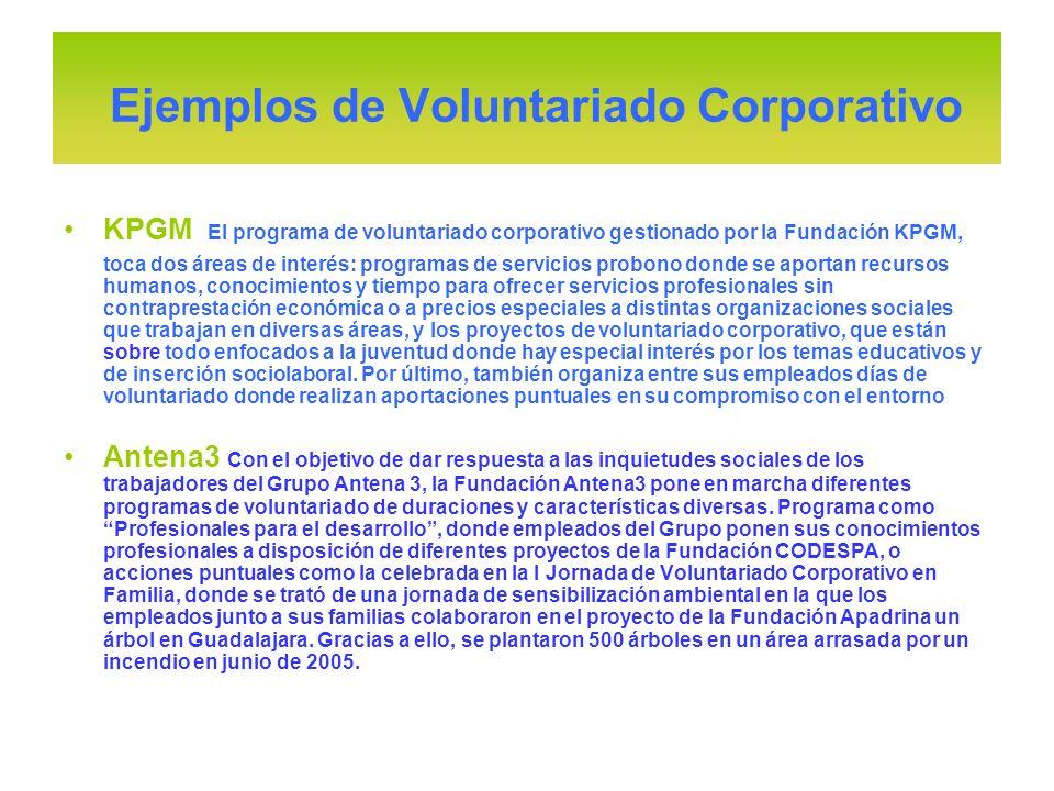 KPGM El programa de voluntariado corporativo gestionado por la Fundación KPGM, toca dos áreas de interés: programas de servicios probono donde se apor